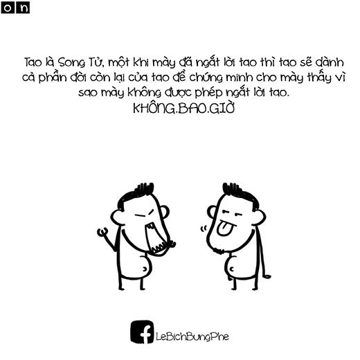 'Đừng đụng vào quan điểm của Song Tử, bạn sẽ chỉ mất thời gian'. (nguồn: FB L.B)