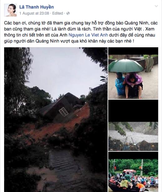 Lã Thanh Huyền cũng cùng bạn thân Việt Anh lên tiếng kêu gọi ủng hộ hướng về vùng lũ. - Tin sao Viet - Tin tuc sao Viet - Scandal sao Viet - Tin tuc cua Sao - Tin cua Sao