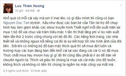 Dòng trạng thái chia sẻ của Lưu Thiên Hương. - Tin sao Viet - Tin tuc sao Viet - Scandal sao Viet - Tin tuc cua Sao - Tin cua Sao