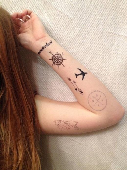 Đây chắc chắn là một tín đồ của xê dịch khi tất cả những hình xăm liên quan đến du lịch đều nằm trên cánh tay cô nàng.