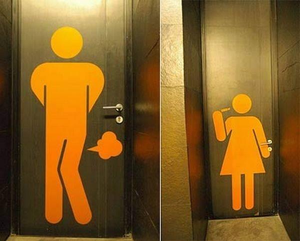 Biển hiệu này nói đúng những nhu cầu sử dụng nhà vệ sinh khác nhau giữa đàn ông và phụ nữ. Đàn ông thì vô nhà vệ sinh để… xì hơi, còn phụ nữ thì… trang điểm.