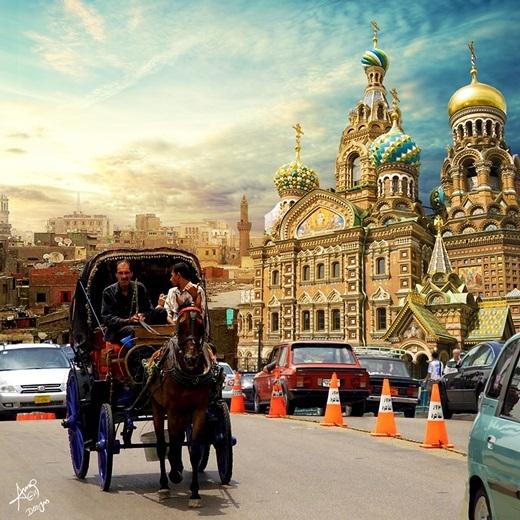 Nhà thờ chính tòa thánh Basil của Nga cũng đã 'du lịch' đến đường phố Cairo.