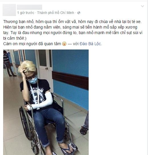 Thông tin Đào Bá Lộc gặp tai nạn được quản lí của nam ca sĩ chia sẻ trên trang cá nhân để trấn an các fan và bạn bè của anh. - Tin sao Viet - Tin tuc sao Viet - Scandal sao Viet - Tin tuc cua Sao - Tin cua Sao