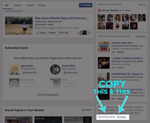 Nếu không muốn bỏ lỡ sinh nhật bạn bè trên Facebook và cần một lời nhắc từ Google Calendar, iCal, hoặc Outlook, bạn có thể sao chép một trong hai dòng phía góc phải, đó là Upcoming Events (sự kiện sắp diễn ra) hoặc Birthday (sinh nhật). Sau đó mở ứng dụng Google Calendar, chọn Other Calendars > Add by URL.