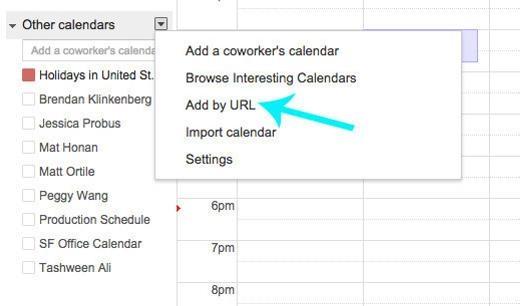 Tương tự với iCal là Calendar>Subscribe> Add URL; và Outlook là Tools>Account Settings>Internet Calendars.
