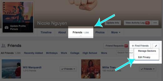 Bạn có thể ẩn danh sách bạn bè của bạn bằng cách vào Edit Privacy và sửa thành Only Me.