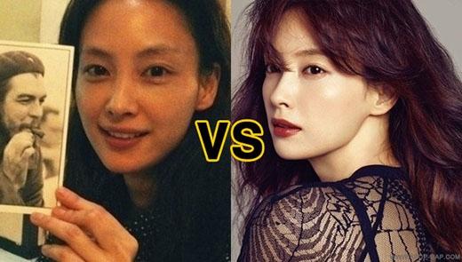 Khi không trang điểm, nữ diễn viên Lee Na Young không quá giống một người nổi tiếng.