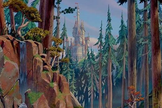 Lâu đài tráng lệ chứa biết bao điều bí ẩn của Quái Vật nằm giữa rừng cây.