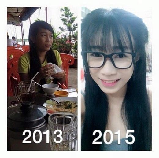 Chỉ có 2 năm nhưng cô bạn này đã thay đổi nhờ vào việc trang điểm.