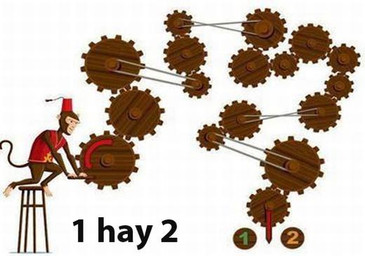 Câu 6: Chú khỉ quay vào số 1 hay số 2 nếu cùng chiều kim đồng hồ?