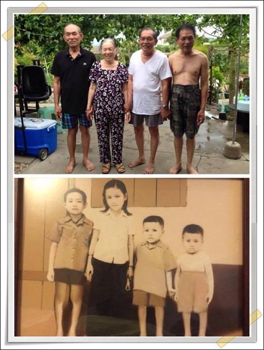 Hình ảnh sau 70 năm của 4 anh chị em trong gia đình đã nhanh chóng thu hút sự chú ý của đông đảo các bạn trẻ. Vẫn những con người ấy nhưng thời gian đã lấy đi của họ tuổi xuân. Tuy vậy, ai nấy đều giữ trên môi nụ cười thật tươi dù đã ở cái tuổi gần đất xa trời.