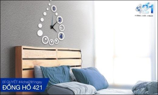 Hay làm điệu cho phòng ngủ bằng chiếc đồng hồ thuần khiết từ Aquafina.
