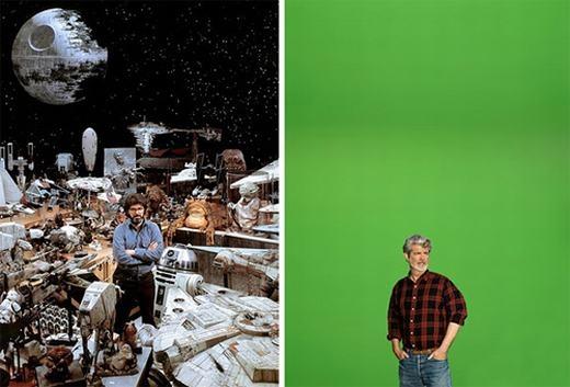 Ngày xưa, người ta dựng phim bằng các mô hình kì công. Nhưng hiện nay, chỉ cần phông nền xanh và máy tính là đủ.