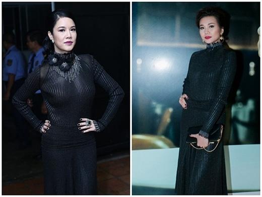 Đụng hàng với nhau trong cùng một kiểu váy hiệu có giá đến 80 triệu đồng nhưng Thu Phương và Thanh Hằng lại mang đến hai hình ảnh hoàn toàn khác biệt. Màu môi cùng tông trang điểm quá đậm khiếnThu Phươngtrông già hơn tuổi thật rất nhiều.