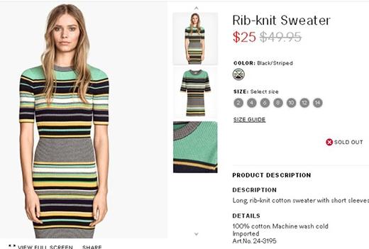 Chiếc đầm kẻ sọc ngang của H&M từng được cô chọn diện chung với chân váy midi tông vàng nổi bật được rao bán với giá khoảng 1 triệu đồng. Vào đợt giảm giá, thiết kế này chỉ còn khoảng 500 nghìn đồng.