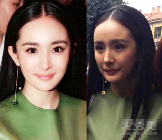 Dương Mịch có làn da trẻ trung, vẻ đẹp tinh khôi như ngoài 20 tuổi trong bức ảnh được chỉnh sửa. Ngoài đời, gương mặt cô hiện rõ các nếp nhăn.