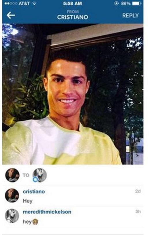 Bằng chứng Ronaldo tán tỉnh người mẫu Mỹ.
