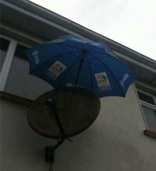 Đến ăng-ten cũng phải được che mưa.
