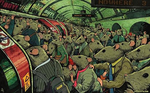 Một cảnh tượng đông đúc choáng ngợp trong ga tàu điện ngầm cho thấy thế giới đang bị quá tải về dân số.