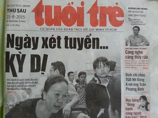 Bài trang nhất trên nhật báo Tuổi Trẻ.
