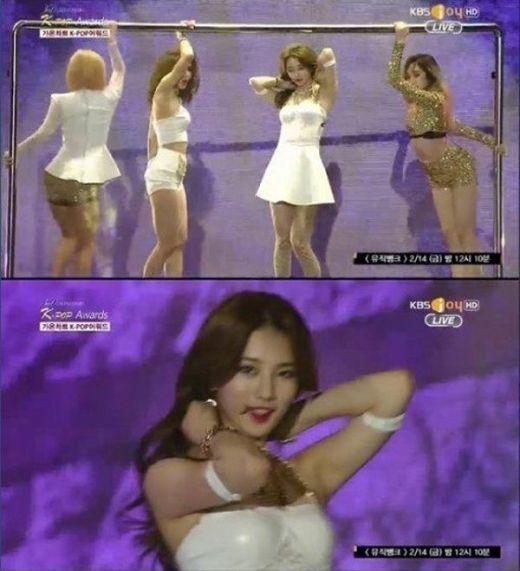 Do chuẩn bị không kĩ trước khi lên sân khấu mà phần dây áo của Suzy đã bung ra trong lúc biểu diễn khiến thành viên Miss A phải giữ chúng đến tận cuối chương trình.