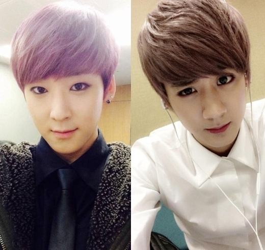 Cùng mang vẻ đẹp nữ tính,Kevin (U-Kiss)vàChunji (Teen Top)trông như anh em sinh đôi.