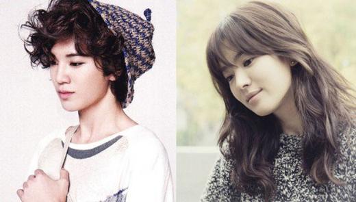 Cặp đôi này có vẻ khác biệt một chút nhưng quả thật gương mặt của Sung Jong (Infinite) lại có rất nhiều nét giống đàn chịSong Hye Kyo.