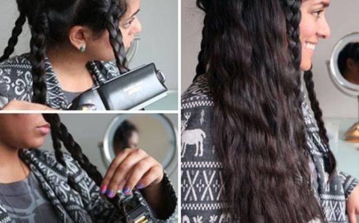 1. Nếu muốn có một mái tóc xoăn ngón tay (finger wave) cá tính và phá cách, thay vì phải chạy đôn chạy đáo tìm loại máy uốn xoăn phù hợp thì bạn có thể tết tóc thành vài lọn nhỏ rồi dùng máy là để dập một đến 2 lần rồi tháo những lọn tóc tết ra. Công đoạn tiếp theo là bạn nhanh chóng xịt keo để giữ dáng tóc là đã hoàn thành kiểu tóc xoăn ngón tay nhẹ nhàng.