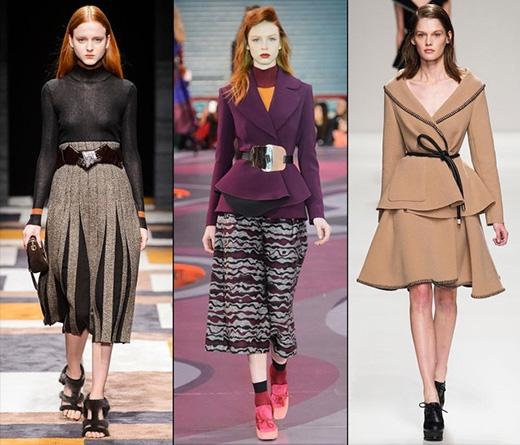 Mốt thời trang cổ điển này tiếp tục được phát triển trong mùa Thu - Đông 2015 nhưng với sự biến tấu của họa tiết hình học độc đáo. Bộ trang phục càng đơn giản sẽ làm những chiếc thắt lưng càng nổi bật.