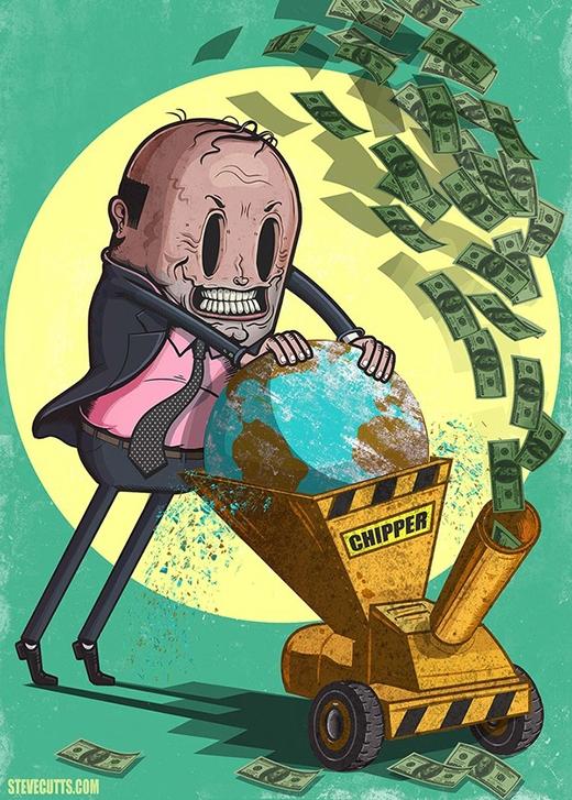 Con người đang bào mòn thế giới để làm ra tiền. Đây có thể được coi là minh họa cho quá trình khai thác khoảng sản và những tài nguyên quý giá.
