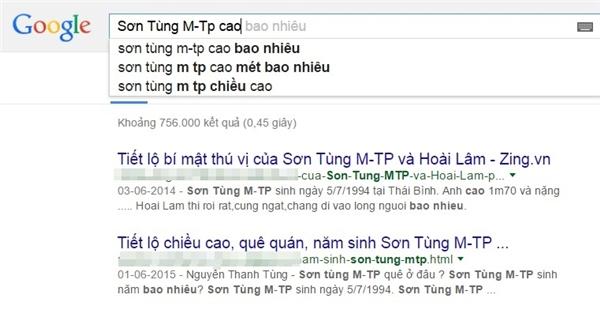 Từ khóa 'Sơn Tùng M-TP cao...' được tìm kiếm khá nhiều trên Google. - Tin sao Viet - Tin tuc sao Viet - Scandal sao Viet - Tin tuc cua Sao - Tin cua Sao