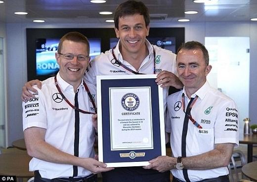 Đội đua Mercedes của Lewis Hamilton vượt qua hai đối thủ Ferrari và McLaren để lập kỉ lục về số chặng thắng trong một mùa ở giải đua xe công thức 1 năm 2014 (thắng 16 trong tổng 19 chặng).