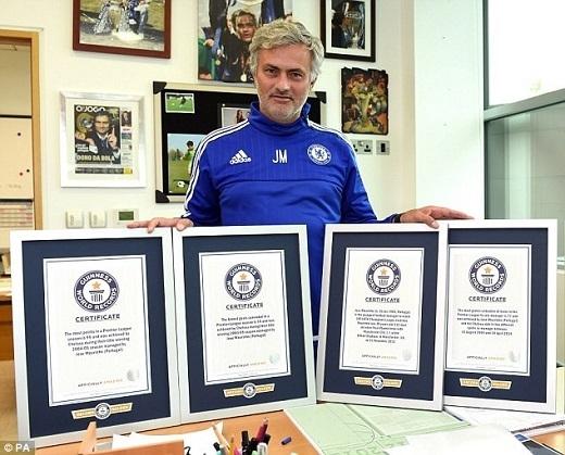 Jose Mourinho là chủ nhân của 4 giải gồm: Huấn luyện viên giành được nhiều điểm nhất tại Premier League (95 điểm, năm 2005); huấn luyện viên đoạt danh hiệu Champions League cùng nhiều đội bóng nhất (2 lần với Porto và Inter Milan); huấn luyện viên trẻ nhất cán mốc 100 trận tại Champions League (49 tuổi và 12 ngày); huấn luyện viên có số trận bất bại dài nhất trên sân nhà (77 trận).