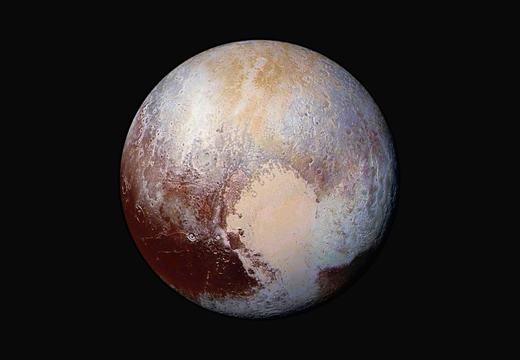 Cận cảnh bề mặt sao Diêm vương dưới ống kính tàu thăm dò của NASA với hình trái tim đẹp mắt. Theo các nhà khoa học, bề mặt này đang chứa một hỗn hợp khí ni-tơ và mê-tan.