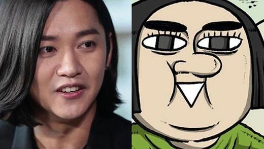 Sở hữu mũi to, đôi mắt đen và cái miệng không lẫn đi đâu được,cóthể nói Ae Bong Ee là bản sao hoàn hảo của nam ca sĩ Kang Kyung Sung.