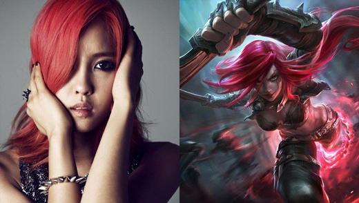 Hyomin và người chị em chiến binh Katarina (LoL).