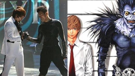 Thầy trò Rain, Park Jin Youngcùng phiên bản nam sinh Light và thần chết Ryuk trong hoạt hình Death Note.