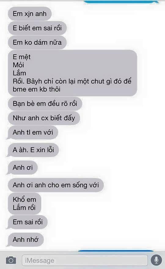 Tin nhắn xin lỗi được cho là của P.H.T gửi đến bạn trai của mình.