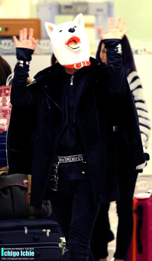 """Xuất hiện tại sân bay, Jonghyun (SHINee) khiến các fan và mọi người xung quanh một phen """"hú vía"""" vì chiếc đầu chó giả. Được biết, lí do nam thần tượng làm việc này chính là để mang đến bất ngờ nho nhỏ cùng tiếng cười cho các fan đã ra đón anh tại sân bay."""