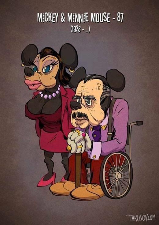Và cao tuổi nhất có lẽ là Mickey và Minnie - 87 tuổi. Đây là hai nhân vật đầu tiên cũng là biểu tượng của hãng Disney nổi tiếng thế giới.