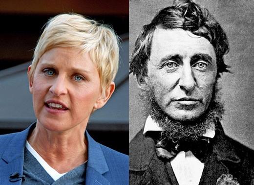 Nhà văn, nhà thơ, nhà tự nhiên học mẫu mực người Mỹ Henry David Thoreau đã từng là nhân vật truyền cảm hứng cho công chúng khắp thế giới kể từ thế kỉ 19. Và đến nay, khi nhìn lại bức ảnh của ông cùng Ellen DeGeneres - ngôi sao truyền hình nổi tiếng, cũng là một trong những nhân vật truyền cảm hứng và niềm vui cho khán giả - nhiều người không khỏi ngỡ ngàng bởi vẻ ngoài của họ. Ellen trông giống hệt Thoreau khi ông... cạo sạch râu.