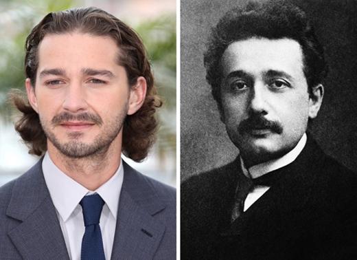 Shia LaBeouf có thể không phải là một thiên tài ở ngoài đời, thế nhưng lại có những nét bên ngoài giống với nhà bác học Albert Einstein khi trẻ.