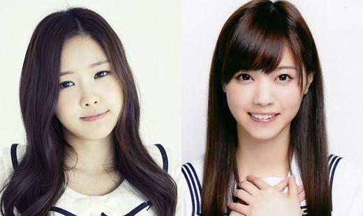 Naeun (A Pink) và Nanase Nishino đều có cặp mắt to và gương mặt tròn trịa.