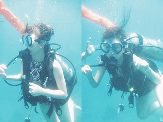 Quỳnh Anh Shyn thích thú khám phá đáy biển tại Nha Trang.