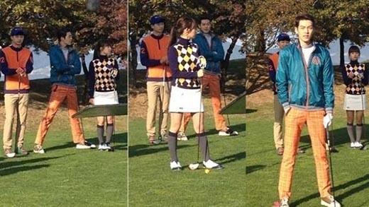 Khi đang quay cảnh đánh gôn ngoài trời cho bộ phim The Heirs, Kim Woo Bin cũng đã phải dạng rộng hai chân ra để có được chiều cao phù hợp với các bạn diễn.
