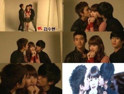Với chiều cao hơn 1m80, Kim Soo Hyun đã dang rộng chân mới có thể dễ dàng hôn nhẹ lên má của Suzy.
