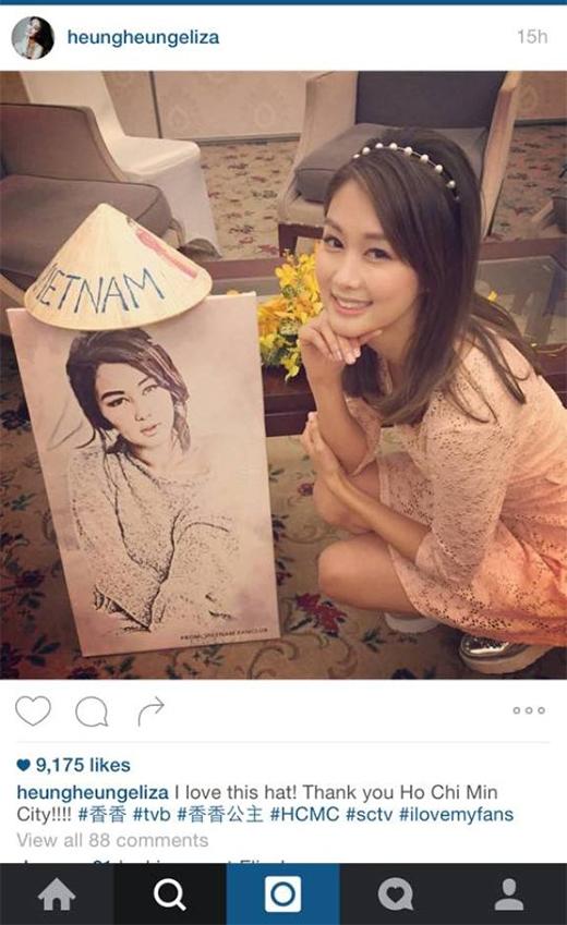 Nữ diễn viên tỏ ra thích thú với món quà và đã khoe với các fan của mình trên instagram.