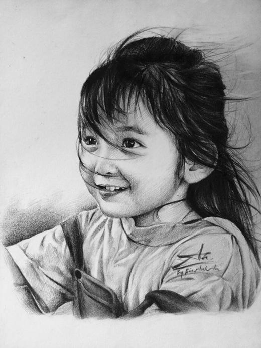 Cô bé 'thiên thần nhí'Uyên Nhi dưới bút vẽ củaAnh An.(Ảnh: Internet)