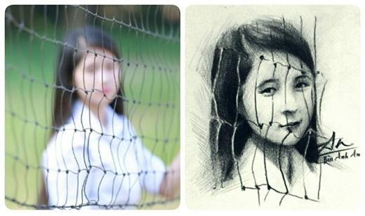 Từ một bức ảnh mờ, chàng trai đã phác họa lại chân dung cô gái. (Ảnh: Internet)