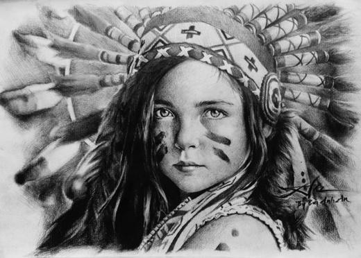 Cô gái da đỏ với đôi mắt hút hồn qua tranh vẽ của An.(Ảnh: Internet)
